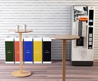 paperflow Ronde houten statafel met wit gefineerde MDF Top 600 x 600 x 1100 mm