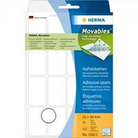 herma Multifunctionele Etiketten 10613 Wit Rechthoekig 25 x 40 mm 32 Vellen van 16 Etiketten