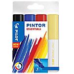 pilot Pintor Markeerstiften Breed Zwart, Blauw, Rood, Geel 4 Stuks