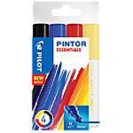 pilot Pintor Markeerstiften Medium Zwart, Blauw, Rood, Geel 4 Stuks