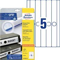 AVERY Zweckform Ordnerrugetiketten L4756-25 Ultragrip Wit A4 25 Vellen à 5 Etiketten 3,4 x 29,7 cm