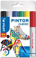 pilot Pintor Classic Markeerstiften Fijn Ronde Punt Kleurenassortiment 6 Stuks