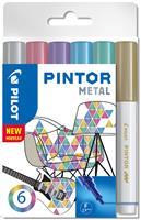 pilot Pintor Metallic Markeerstiften Fijn Ronde Punt Kleurenassortiment 6 Stuks