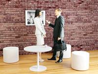 paperflow Bijzettafel met melamine, ABS & stalen blad en frame Easy Desk 800 x 800 x 600 mm Wit, beuken