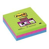 post-it Super Sticky Grote Notes Gelijnd 101 x 101 mm Neon Kleurenassortiment 3 Blokken van 70 Vellen