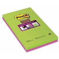 post-it Super Sticky Grote Notes Gelijnd 127 x 203 mm Neon Kleurenassortiment 2 Blokken van 45 Vellen