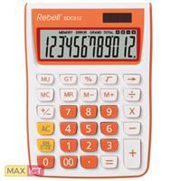 Rebell Rebell SDC912. Vormfactor: Desktop, Soort: Basisrekenmachine. Cijfers: 12 cijfers, Tekstregels: 1 regels. Stroombron: Batterij/Zonne-energie. Kleur van het product: Oranje