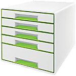 Leitz WOW Cube Ladenkastje Duokleur met 5 laden A4 Wit, Groen 28,7 x 27 x 36,3 cm