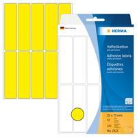 Universele etiketten Herma 2421 20x75 mm geel papier mat voor handmatige opschriften 320 st.
