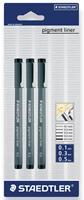 Staedtler fineliner Pigment Liner blister van 3 stuks: 0,1; 0,3 en 0,5 mm