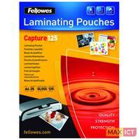 Fellowes ImageLast 125 micron lamineerhoes glanzend A4-25pk. Kleur van het product: Transparant, Materiaal: Kunststof, Formaat: A4. Breedte: 310 mm, Diepte: 214 mm, Hoogte: 4 mm. Aantal per verpakking