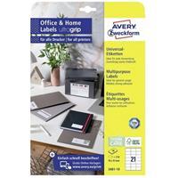avery-zweckform 3481-10 Etiketten 70 x 41 mm Papier Wit 210 stuk(s) Permanent Universele etiketten 10 vel DIN A4