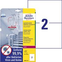avery-zweckform L8012-10 Antimicrobiële etiketten 148 x 210 mm Polyester folie Transparant 20 stuk(s) Permanent 10 vel