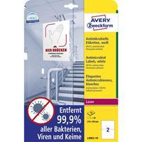 avery-zweckform L8002-10 Antimicrobiële etiketten 148 x 210 mm Polyester folie Wit 20 stuk(s) Permanent 10 vel