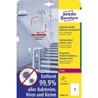 avery-zweckform L8011-10 Antimicrobiële etiketten 210 x 297 mm Polyester folie Transparant 10 stuk(s) Permanent 10 vel
