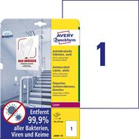 avery-zweckform L8001-10 Antimicrobiële etiketten 210 x 297 mm Polyester folie Wit 10 stuk(s) Permanent 10 vel