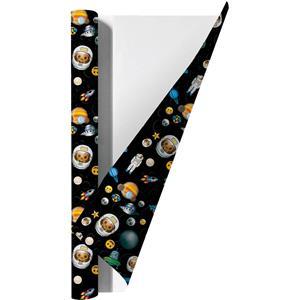 Emoji Space Kaftpapier Voor Schoolboeken - 200 X 70 Cm - 6 Rollen