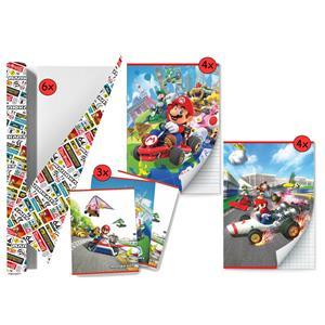 Mario Kart - Back To School Schoolpakket - Kaftpapier Voor Schoolboeken En Schriften