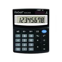 Rebell Rebell SDC 408. Vormfactor: Desktop, Soort: Basisrekenmachine. Cijfers: 8 cijfers, Tekstregels: 1 regels. Stroombron: Batterij/Zonne-energie. Kleur van het product: Zwart