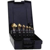 Kegelverzinkboor set 5-delig 6.3 mm, 10.4 mm, 16.5 mm, 20.5 mm, 25 mm HSS TiN Exact 05568 Cilinderschacht 1 set