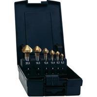Kegelverzinkboor set 6-delig 6.3 mm, 8.3 mm, 10.4 mm, 12.4 mm, 16.5 mm, 20.5 mm HSS TiN Exact 05567 Cilinderschacht 1 set