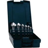 Kegelverzinkboor set 6.3 mm, 8.3 mm, 10.4 mm, 12.4 mm, 16.5 mm, 20.5 mm HSS TiAIN Exact Cilinderschacht 1 set