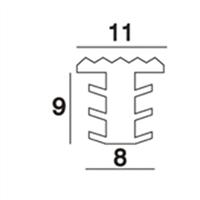 Heering Inleg trapstrip kunststof met T-profiel zwart antislipprofiel 8 x 11mm
