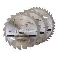 Silverline Tct Cirkelzaagblad 20, 24, 40 Tanden, 3 Stuks (190 X 30 - 25 En 20 mm Ringen)