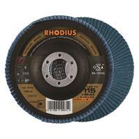 Rhodius LSZF3 ALPHALINE Lamellenschijf 115x22.23mm Korrel 80 10Stuks