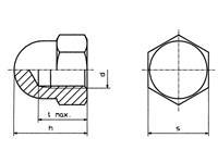 Zeskant dopmoeren M4 DIN 1587 Staal verzinkt 10 stuks TOOLCRAFT M4 D1587-STAHL:A2K 194787