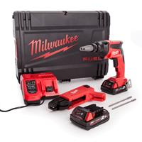 Milwaukee M18 FSGC-202X 18V Li-Ion accu Gipsschroefmachine / Bandschroefmachine set (2x 2,0Ah) in HD Box - koolborstelloos