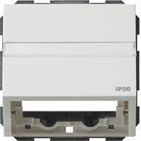 GIRA TX44 datakap met draagring en tekstkader voor inzetten communicatietechniek wit