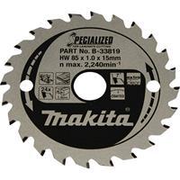 makita SPECIALIZED B-33819 Cirkelzaagblad 85 x 15 x 1.0 mm Aantal tanden: 24 1 stuk(s)