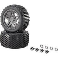 Reely 1:10 XS Buggy Complete wielen Multipin 5-dubbelspaaks Zwart 1 paar