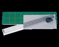 Alco Snijmat  met mes en liniaal 380x100mm groen