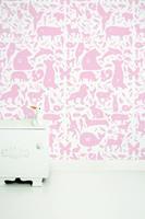 Alfabet Beestjes behang roze