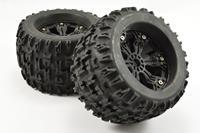 """Fastrax Jigsaw MT banden op zwarte 6-spaaks velgen (1/2"""" offset) - 1/8 Truck & Truggy"""