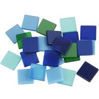 Bellatio Mozaiek tegels kunsthars groen/blauw 10x10