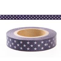 Rayher hobby materialen Washi tape blauw met sterren