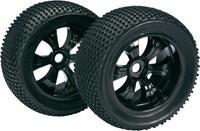 Absima 1:8 Truggy Complete wielen Dirty 6-spaaks Zwart 2 stuks
