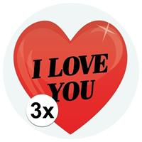 Shoppartners 3 x Cadeaustickers I Love You hart 9 cm