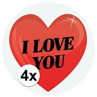 Shoppartners 4 x Cadeaustickers I Love You hart 9 cm