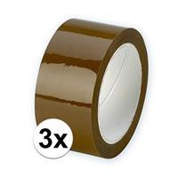 Bellatio 3x Verpakkingstape bruin