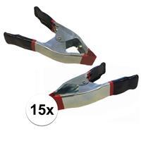 Bellatio 15x lijmklemmen / marktklemmen 15 cm