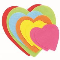 Hobby vilt 8 gekleurde vilten harten 8-15 cm Multi