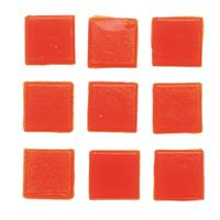 Geen 30 stuks vierkante mozaieksteentjes oranje 2 cm Rood