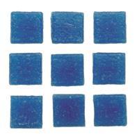 Geen 30 stuks vierkante mozaieksteentjes blauw 2 cm Blauw