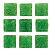 Geen 30 stuks vierkante mozaieksteentjes groen 2 cm Groen