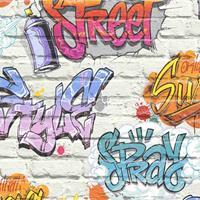 DUTCH WALLCOVERINGS Behang graffiti meerkleurig L179-05