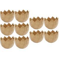 10x Halve eierschalen van papier mache 4 cm Bruin